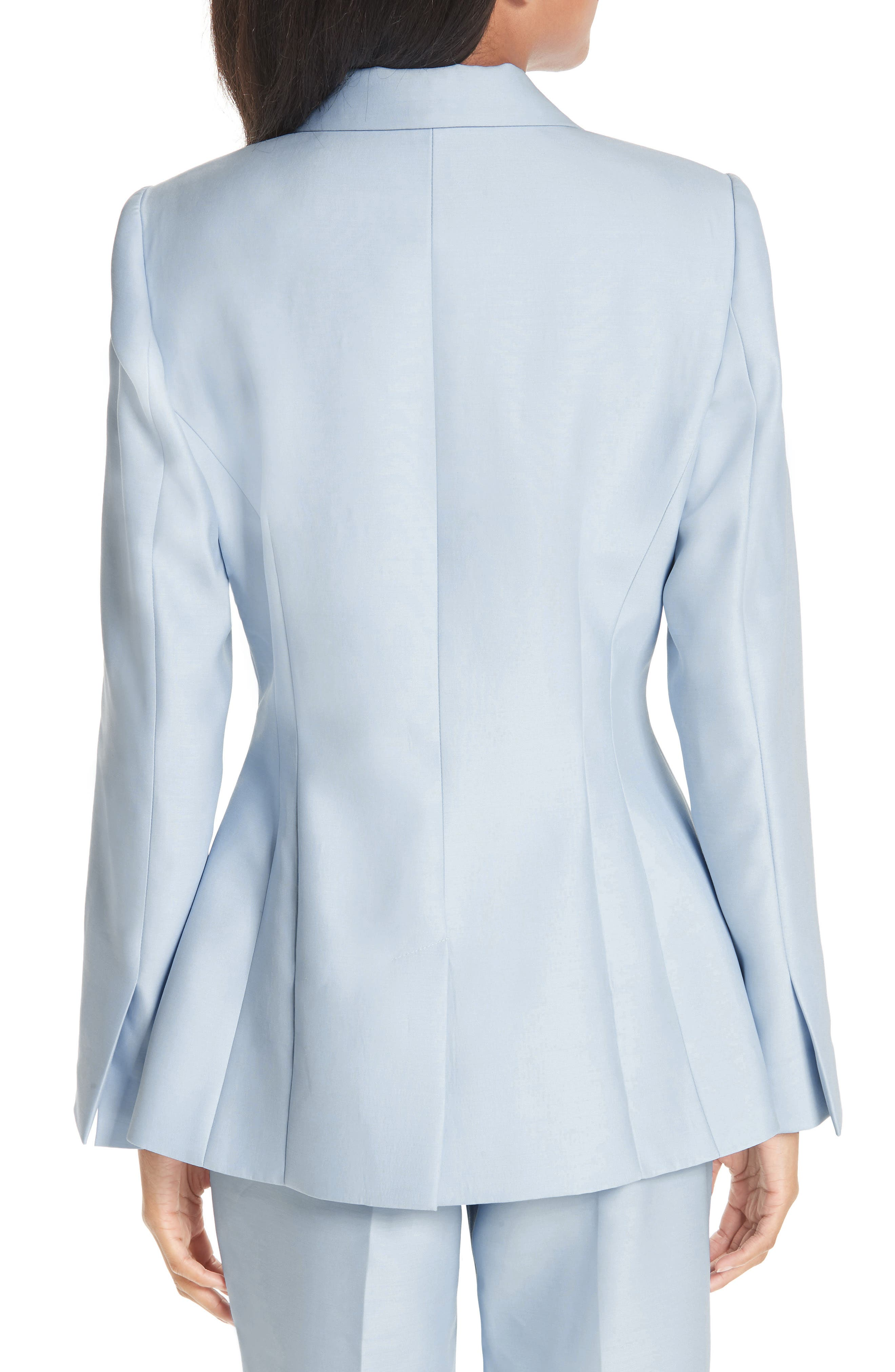 ,                             One-Button Wool & Silk Jacket,                             Alternate thumbnail 2, color,                             PALE BLUE