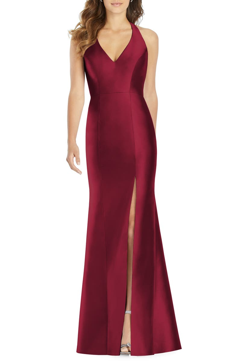 ALFRED SUNG Halter Satin Trumpet Gown, Main, color, BURGUNDY