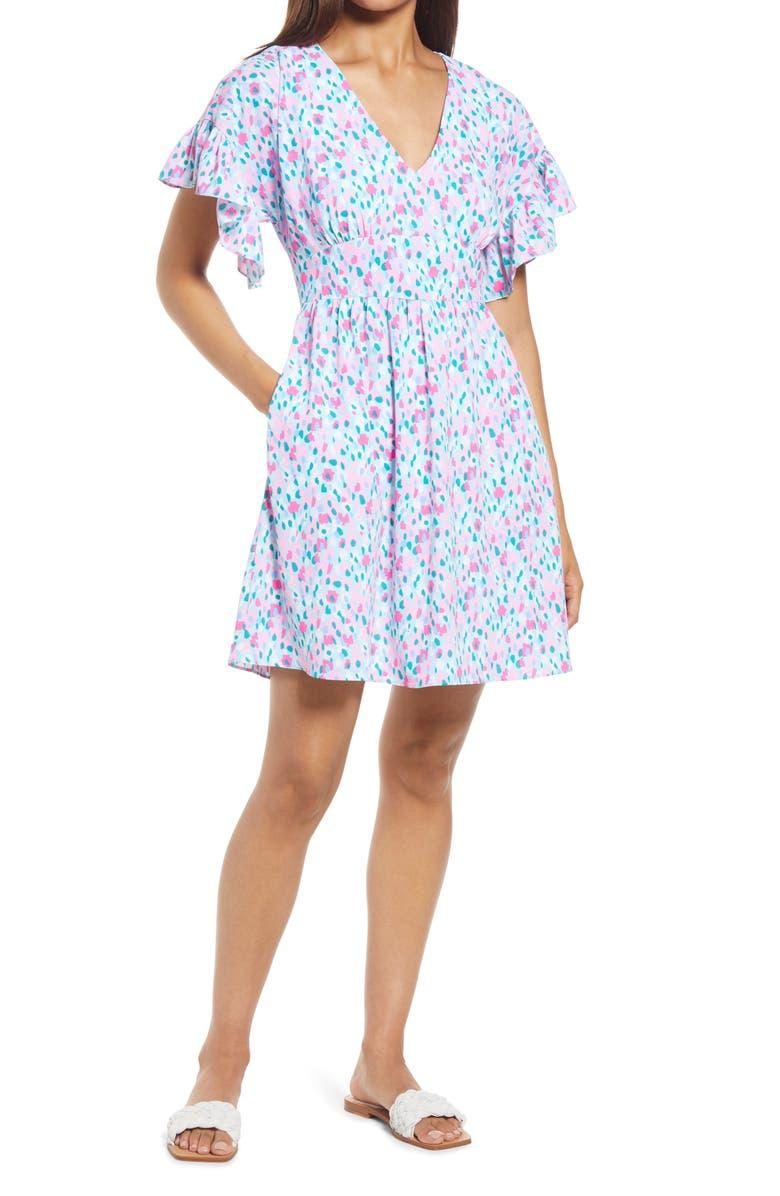 LILLY PULITZER<SUP>®</SUP> Blaire Fit & Flare Dress, Main, color, MULTI HOTTIE DOTTIE