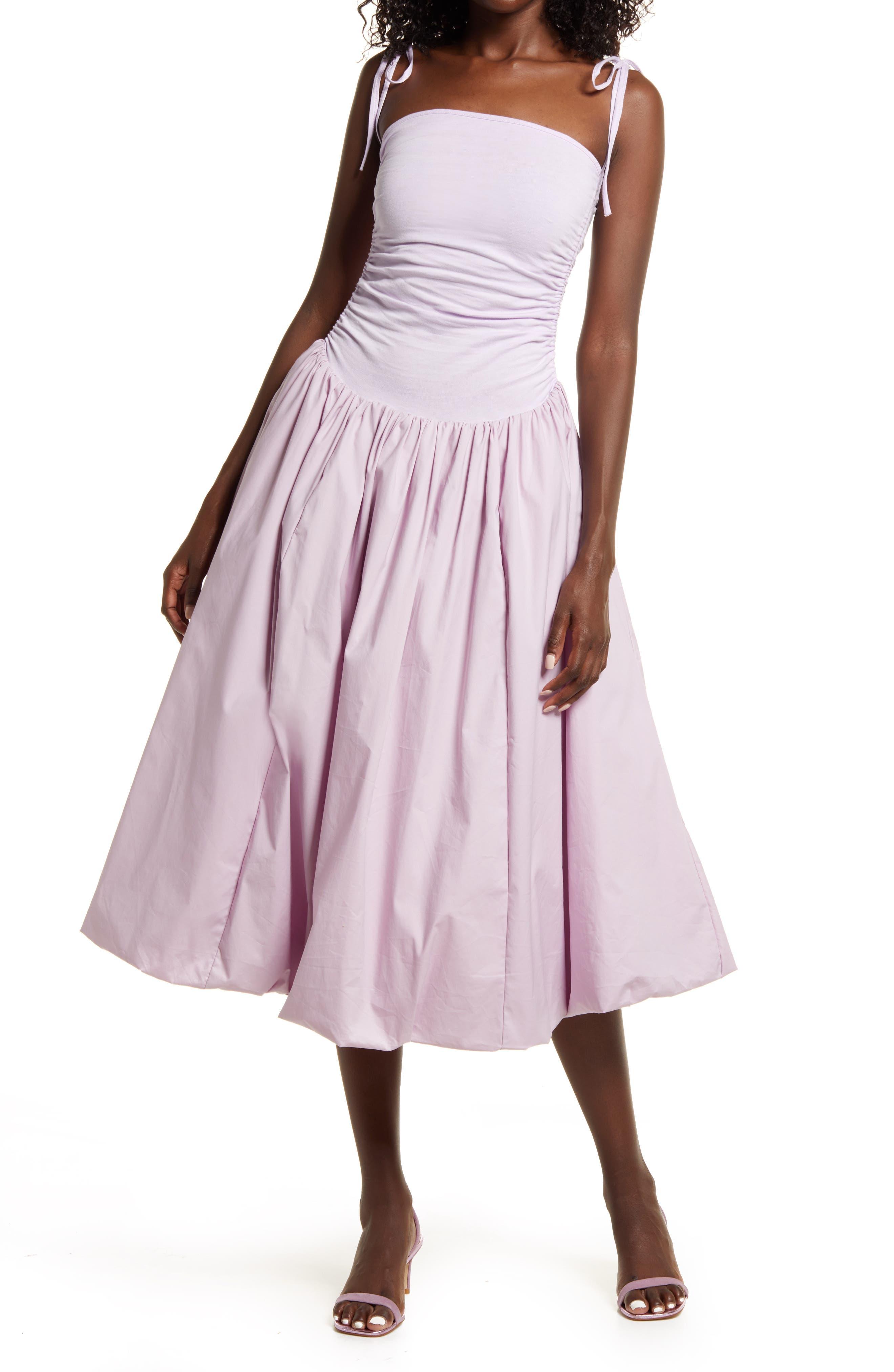 80s Dresses | Casual to Party Dresses Womens Amy Lynn Tie Shoulder Midi Dress Size Large - Purple $112.00 AT vintagedancer.com