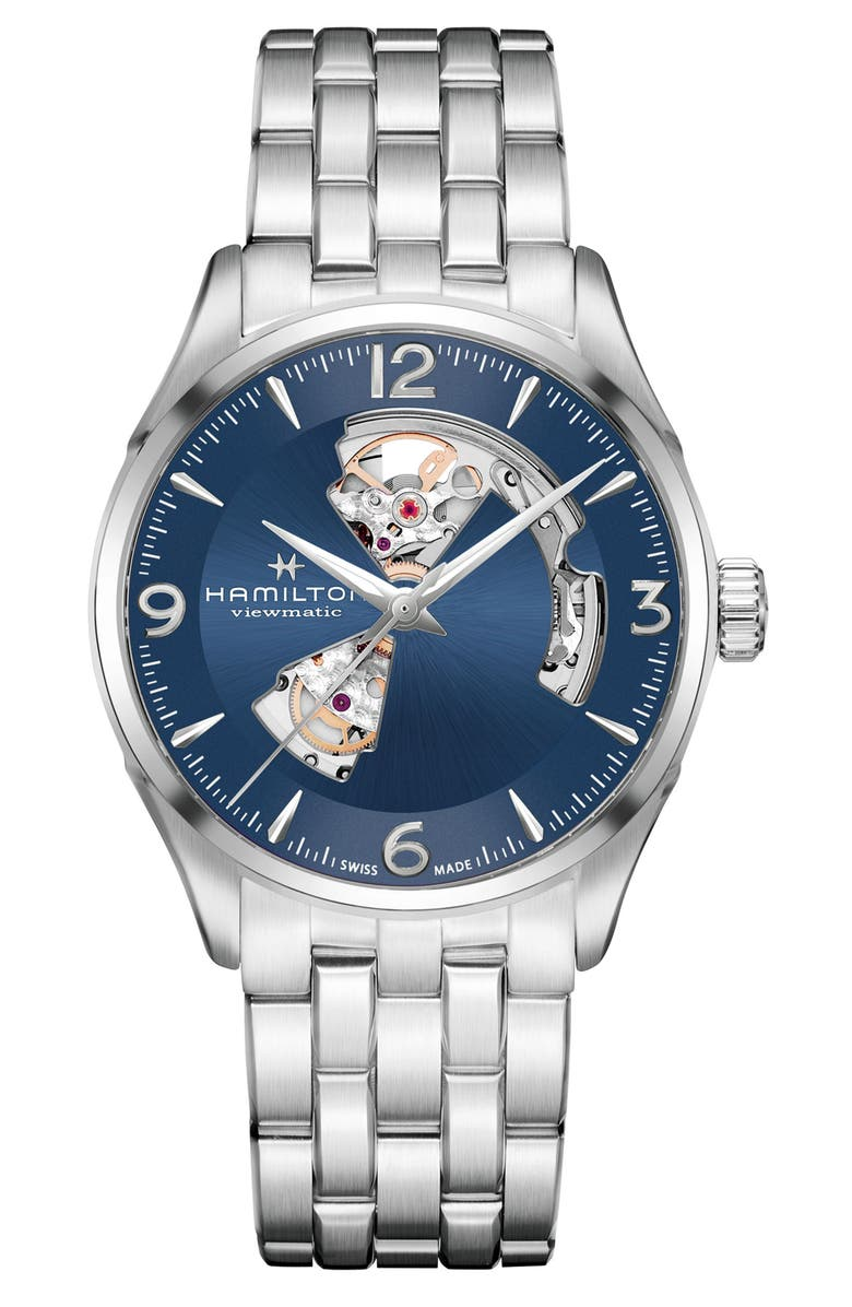 HAMILTON Jazzmaster Gent Open Heart Automatic Bracelet Watch, 42mm, Main, color, SILVER/ BLUE/ SILVER
