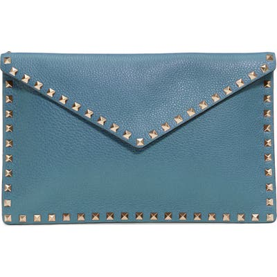 Valentino Garavani Large Rockstud Leather Envelope Pouch - Blue