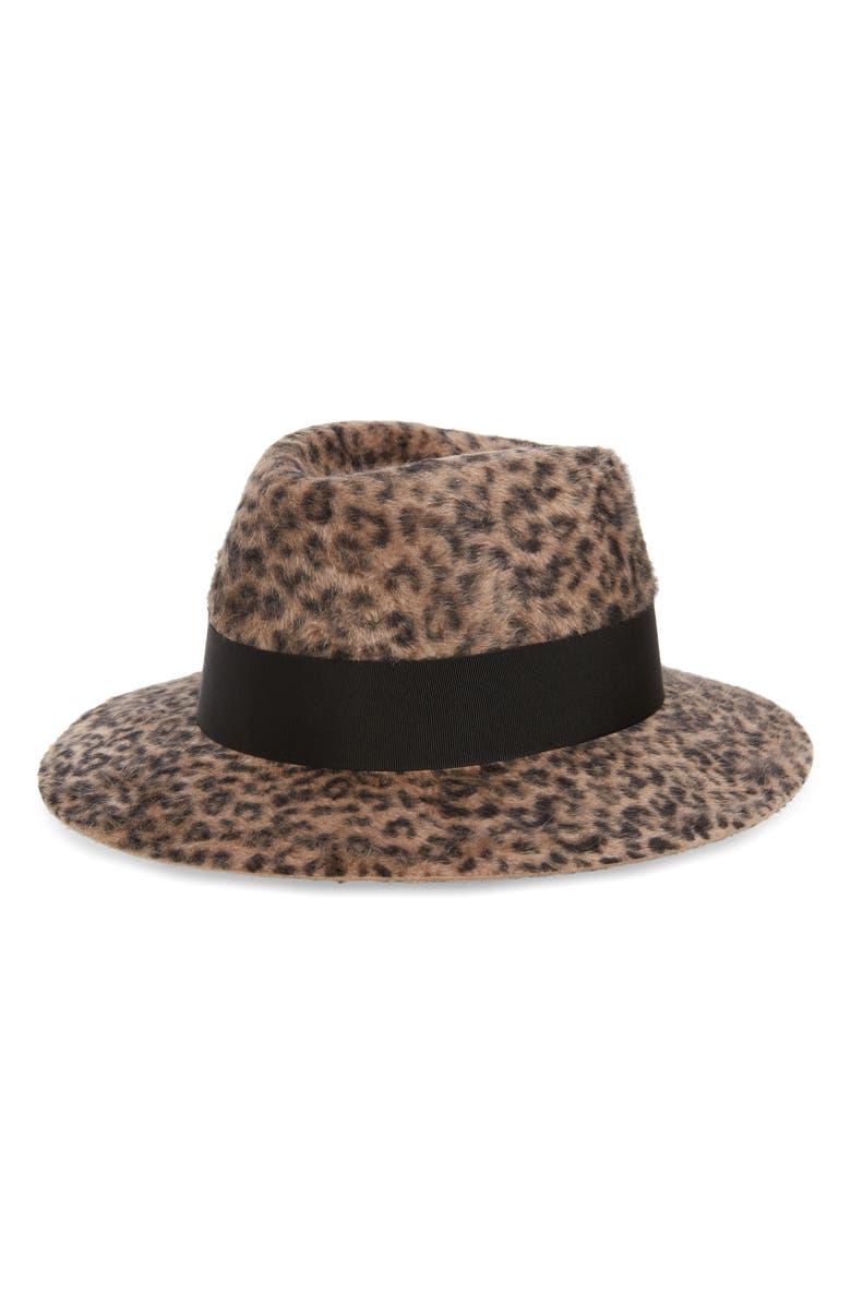 SAINT LAURENT Leopard Spot Fur Felt Fedora, Main, color, MARRON/ NOIR