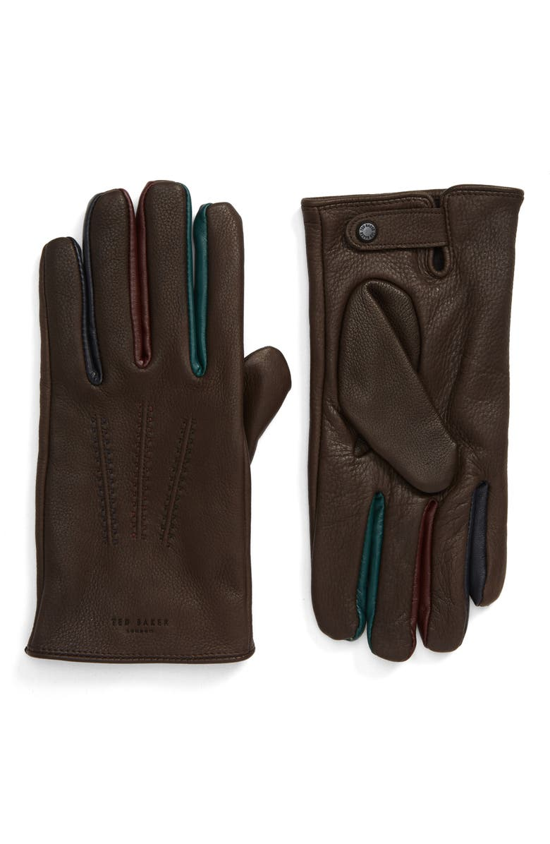 TED BAKER LONDON Parm Leather Gloves, Main, color, CHOCOLATE