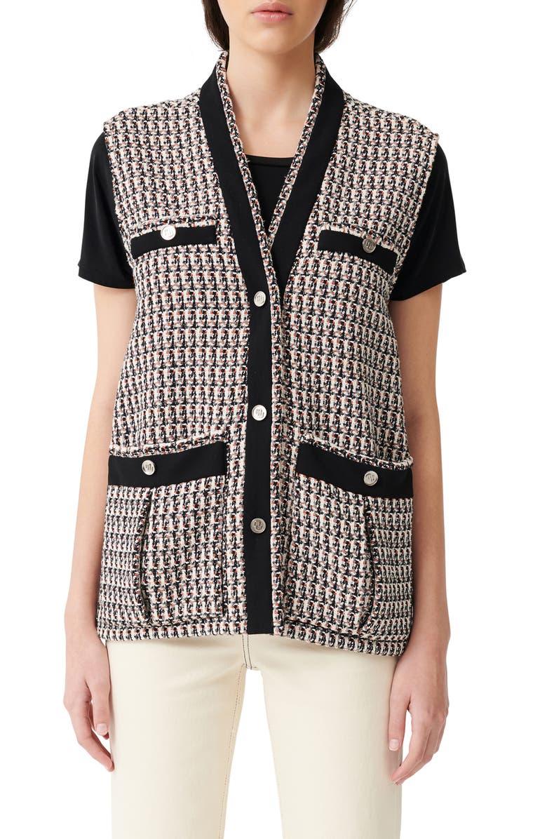 MAJE Long Metallic Tweed Vest, Main, color, MULTICOLOR