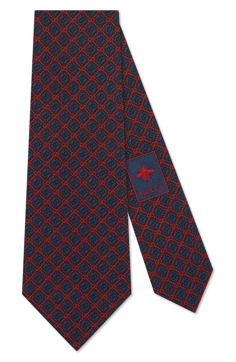 GUCCI Spiral GG Silk Tie, Main, color, NAVY/ RED