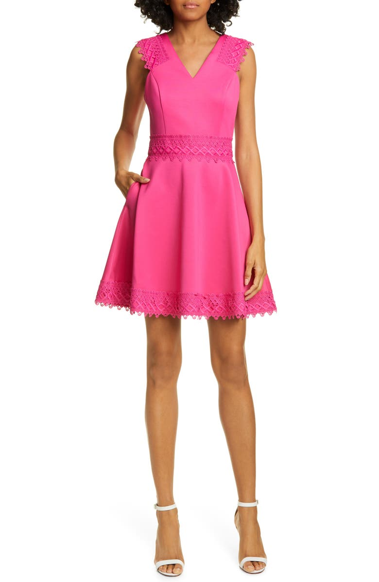TED BAKER LONDON Lace Detail Skater Dress, Main, color, BRIGHT PINK