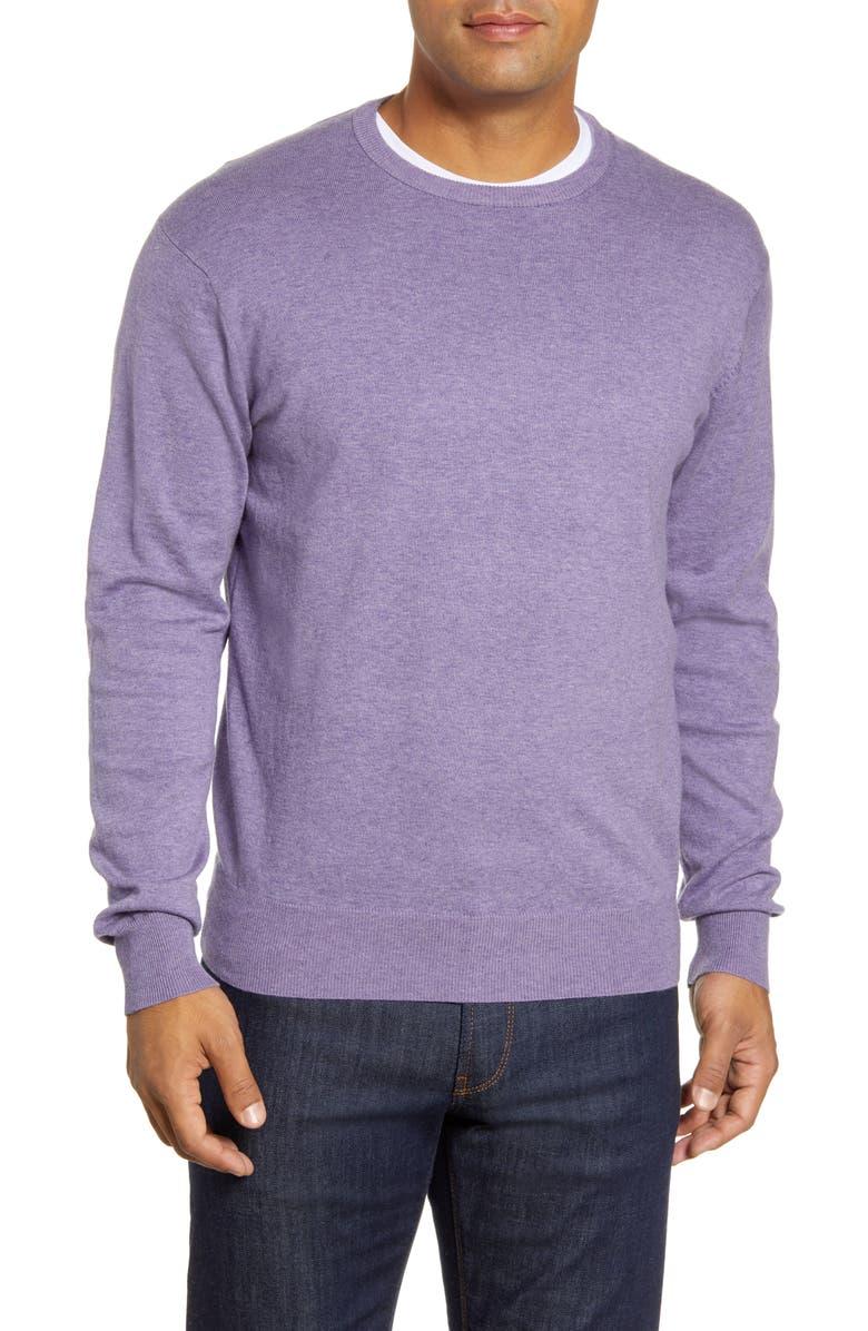 PETER MILLAR Crown Crewneck Sweater, Main, color, PLUM STONE