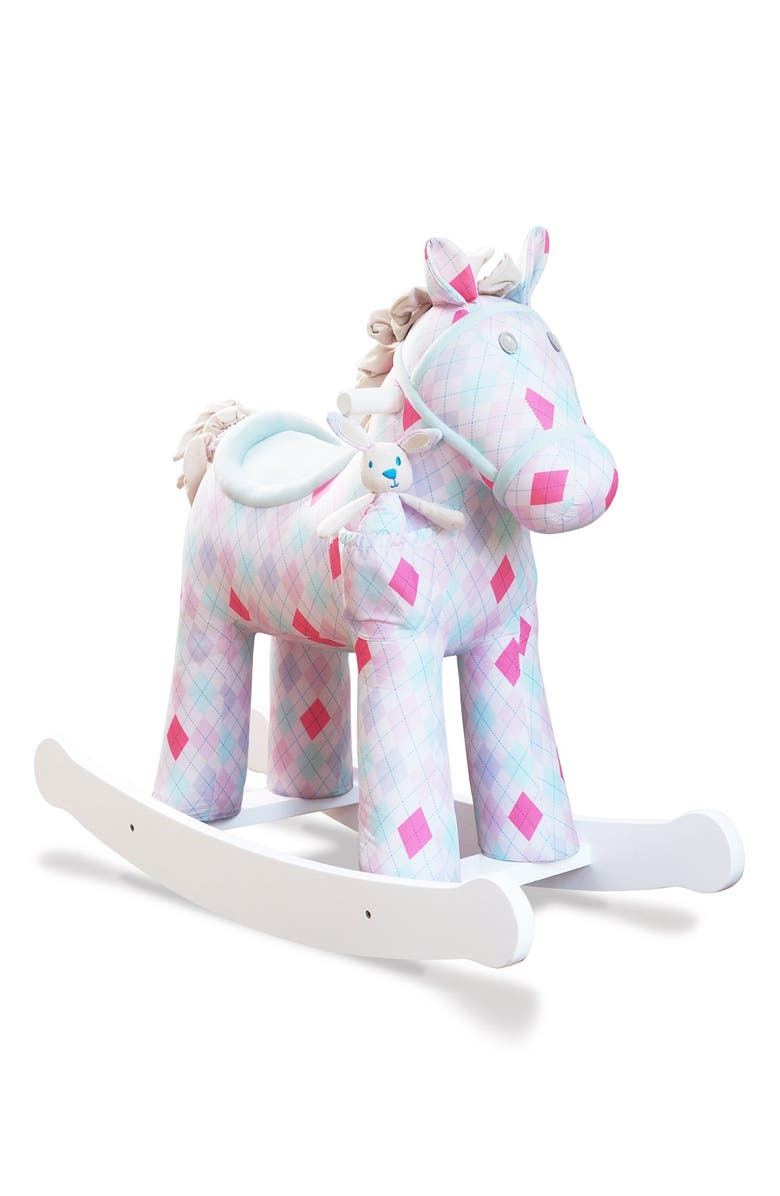 LITTLE BIRD TOLD ME Florence & Floop Rocking Horse & Stuffed Animal, Main, color, PINK