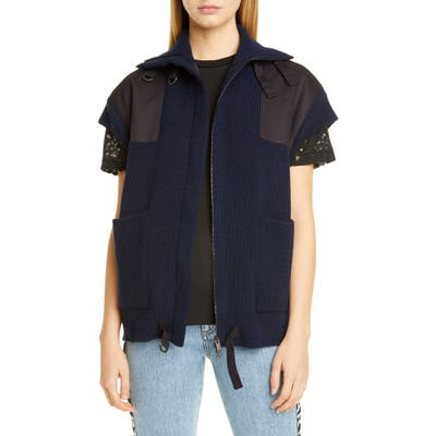 Stella Mccartney Oversized Military Wool Sweater Vest, US / 42 IT - Blue