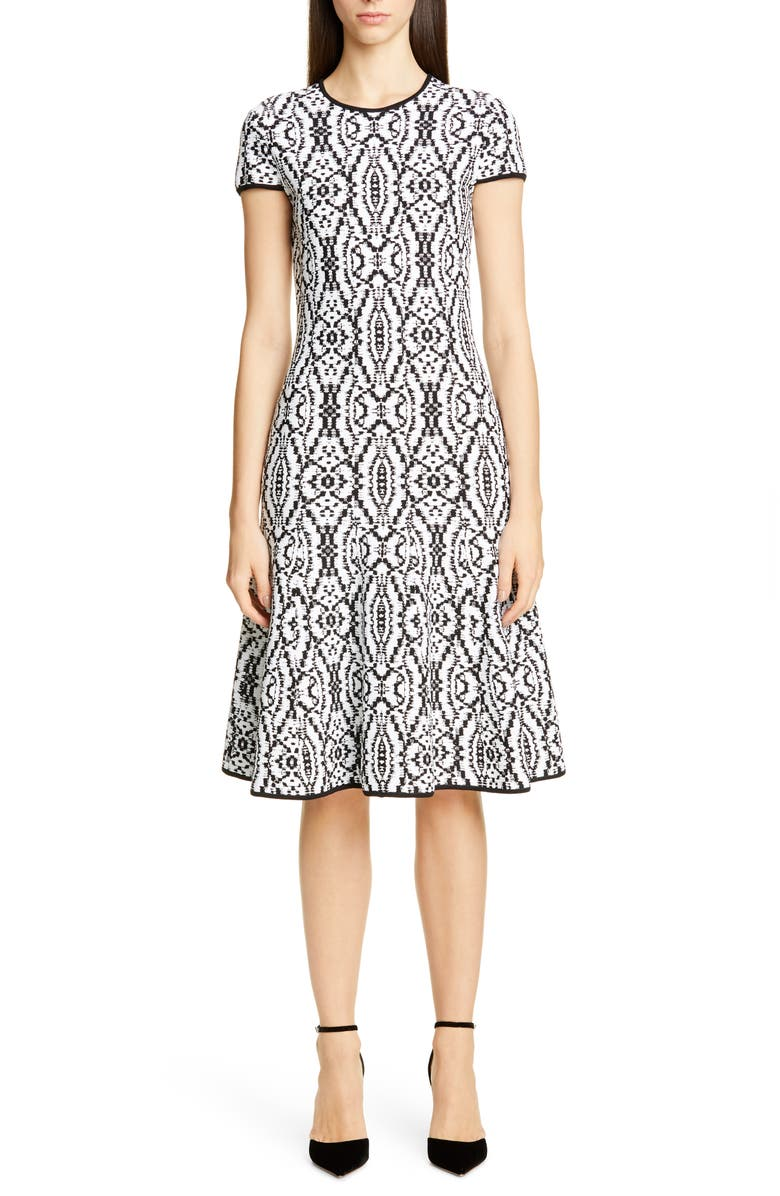 ST. JOHN COLLECTION Artisanal Ikat Jacquard Sweater Dress, Main, color, CAVIAR/ WHITE MULTI