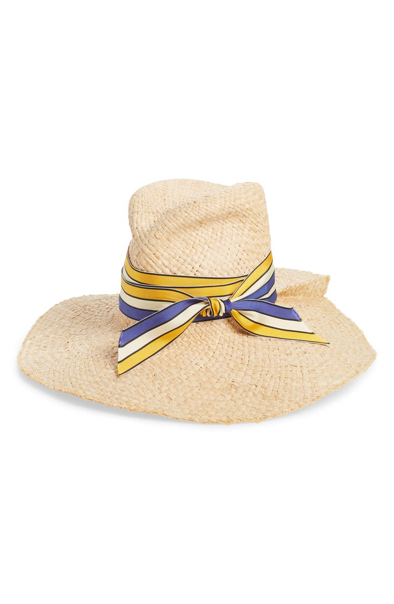 LOLA HATS First Aid Striped Band Straw Hat, Main, color, 200