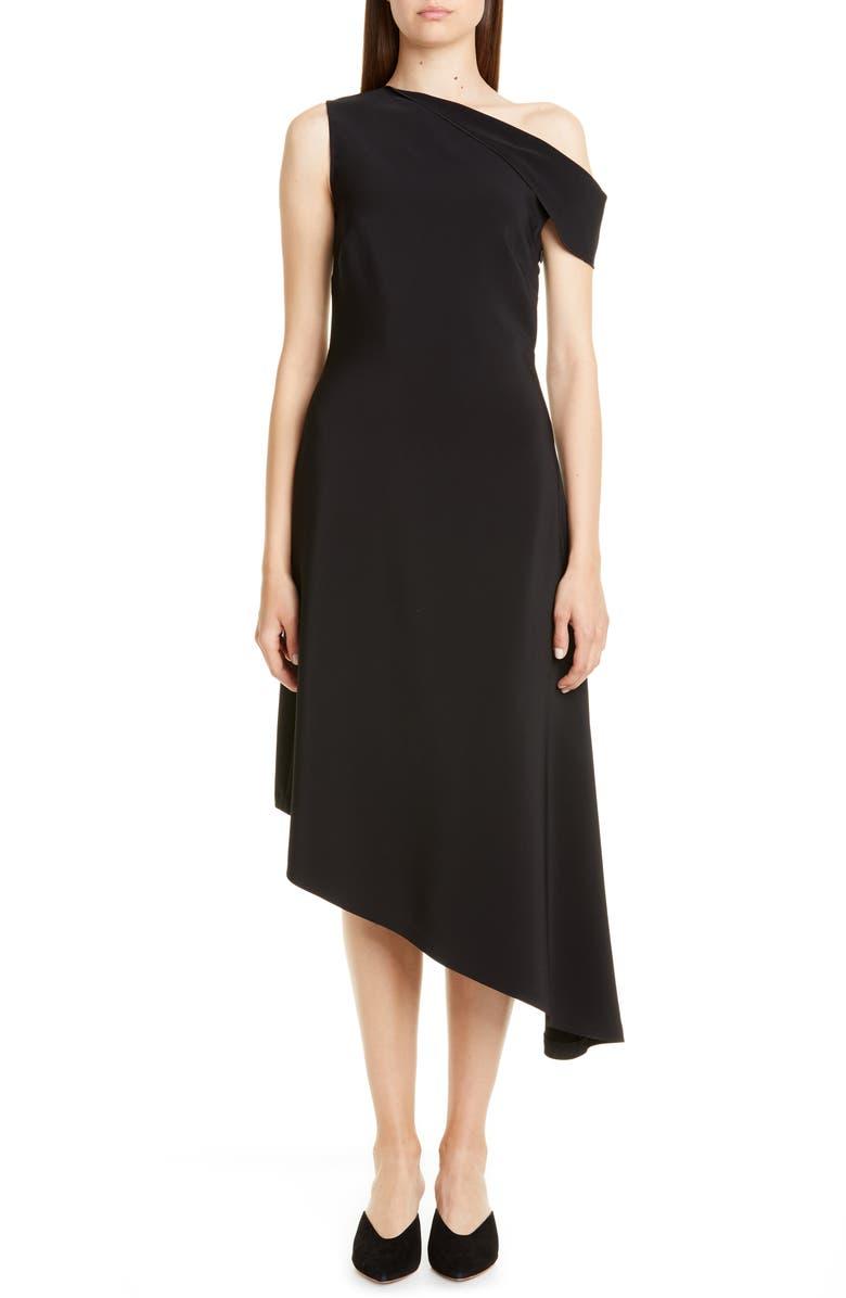 ROSETTA GETTY One-Shoulder Asymmetrical Midi Dress, Main, color, BLACK