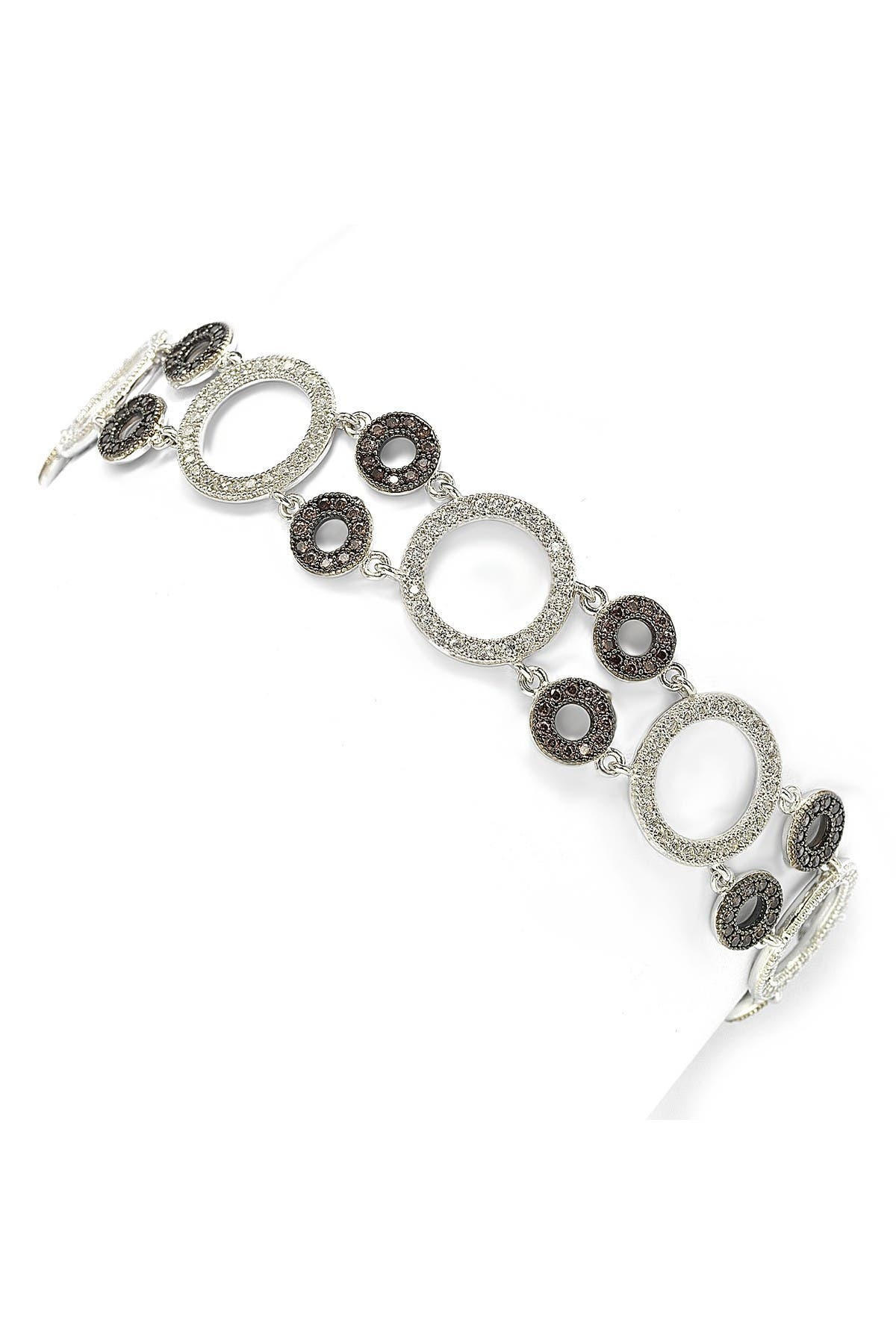 Image of Suzy Levian Sterling Silver CZ Circle Link Bracelet