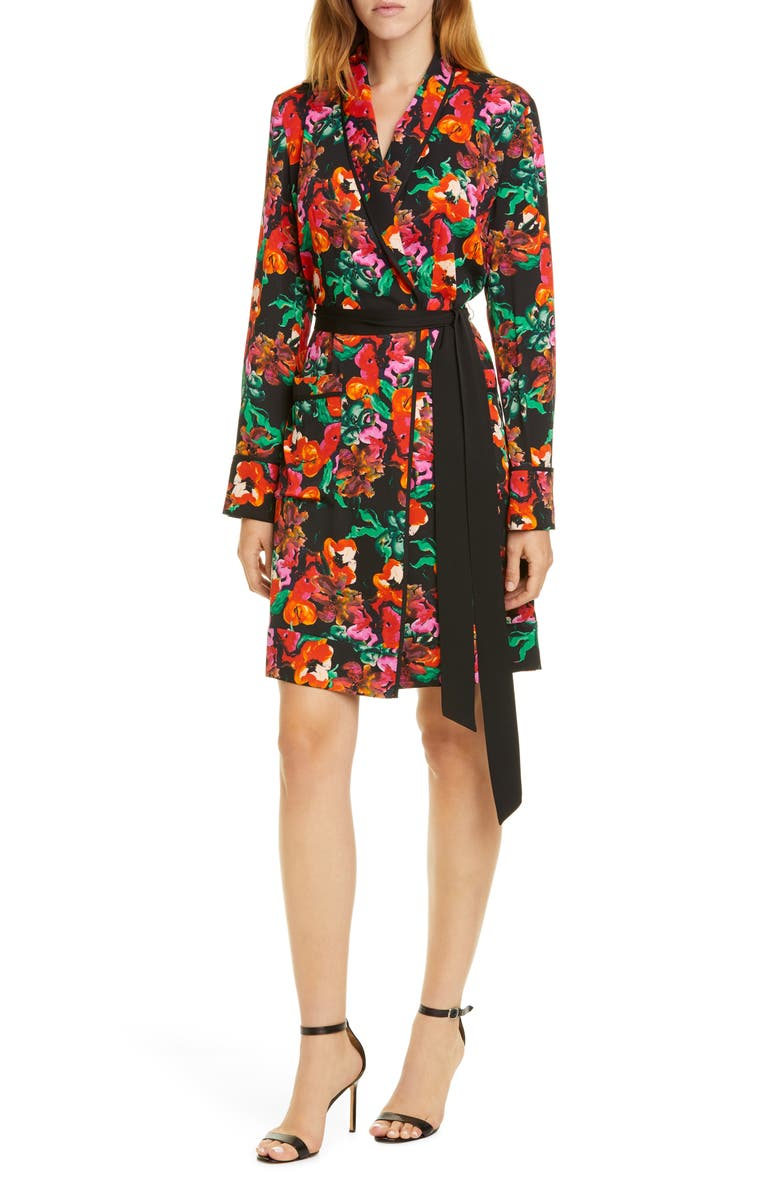 DVF Floral Long Sleeve Tie Waist Stretch Silk Dress, Main, color, WATERCOLOR FLORAL BLACK/ BLACK