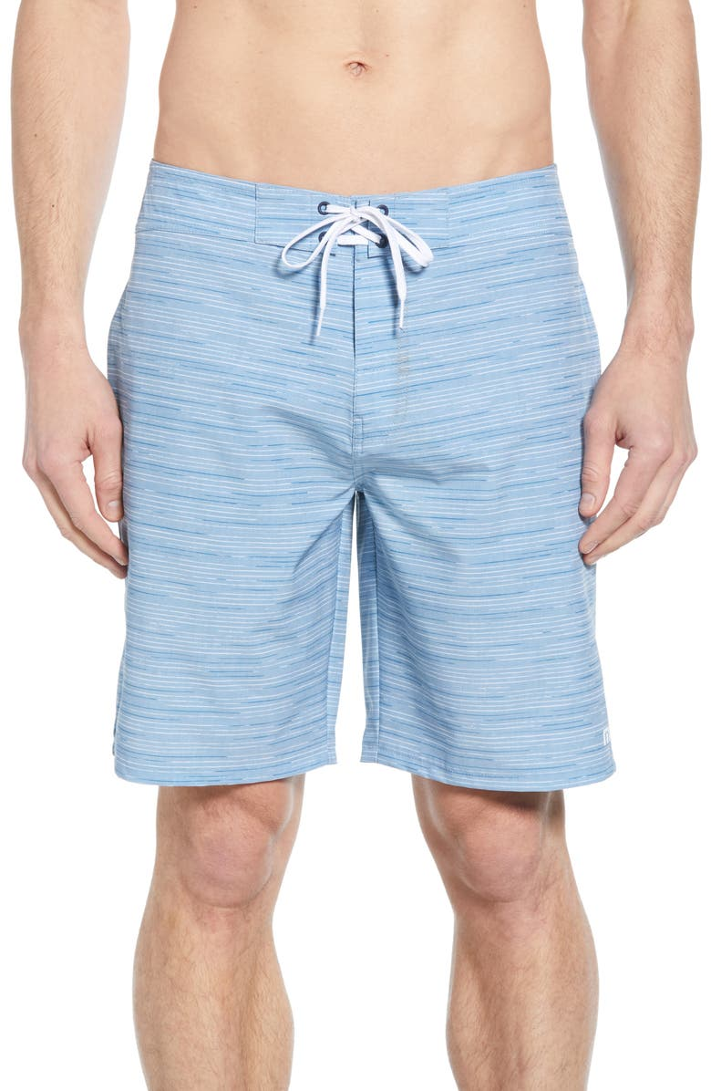 TRAVISMATHEW Hot Tub Time Board Shorts, Main, color, HEATHER BLUE NIGHTS