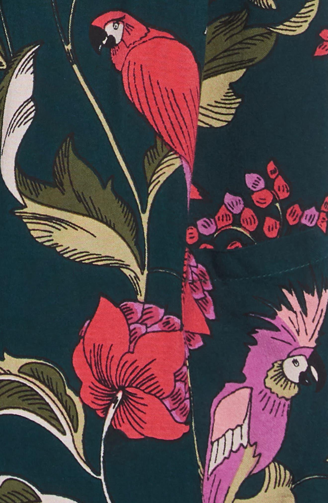 ,                             Tropical Print Dress,                             Alternate thumbnail 3, color,                             GREEN