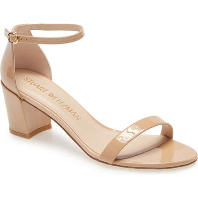 Stuart Weitzman Simple Ankle Strap Sandal, Beige