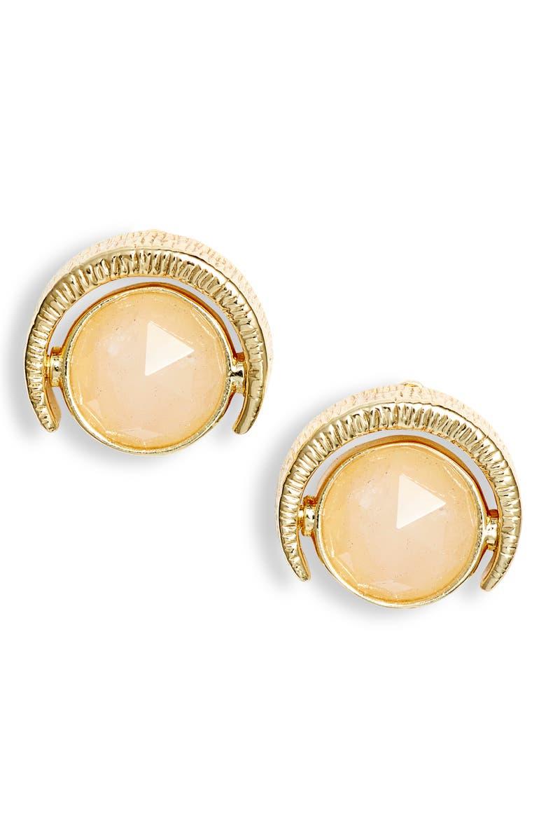 GORJANA Alice Stud Earrings, Main, color, ROSE QUARTZ/ GOLD