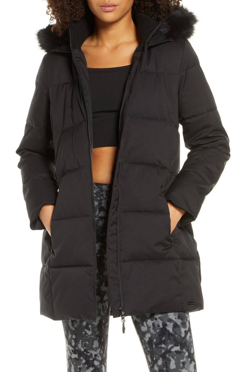SWEATY BETTY North Pole Quilted Hooded Parka with Faux Fur Trim, Main, color, 018