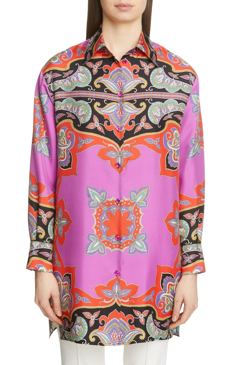 ETRO Paisley Print Silk Tunic, Main, color, RED