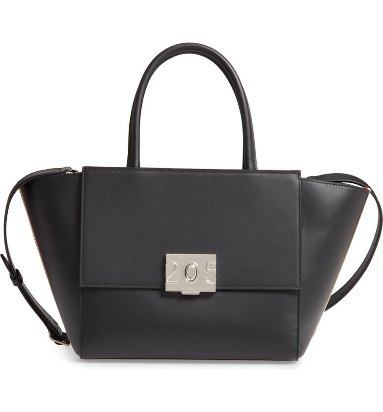 CALVIN KLEIN 205W39NYC Bonnie Top Handle Leather Satchel, Main, color, 001