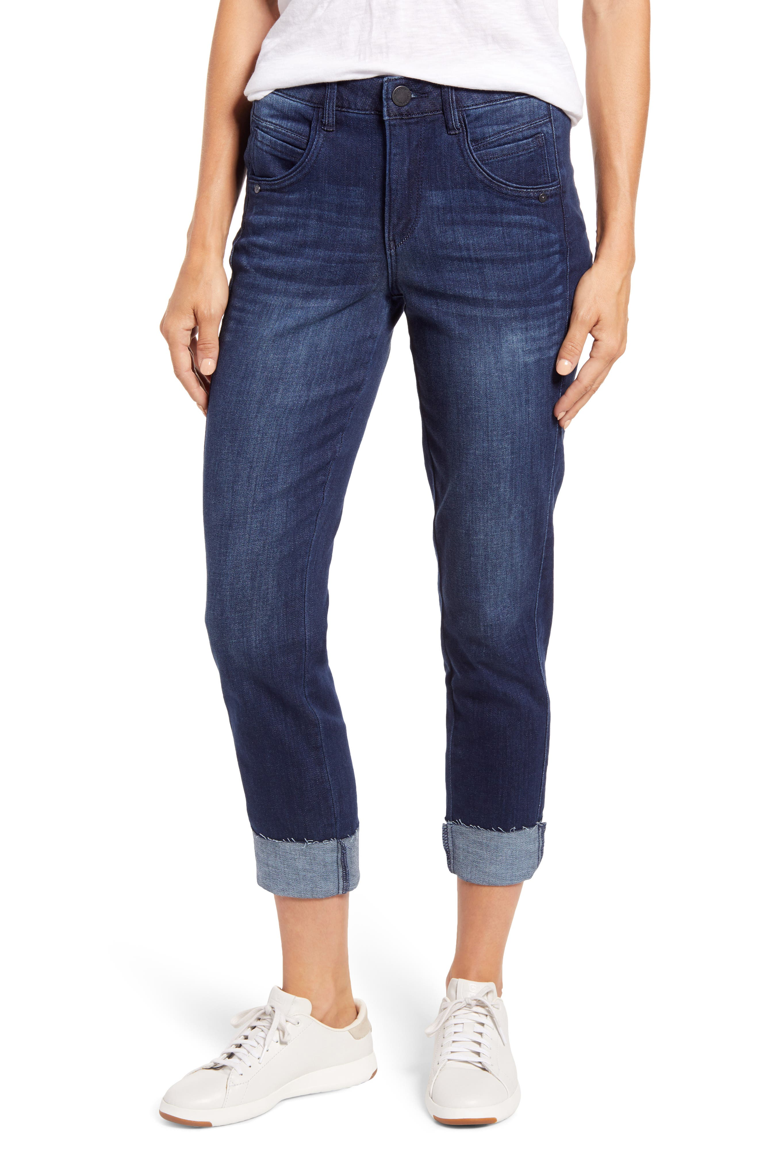 A slim straight leg offers a slouchy but not sloppy fit to these raw-hemmed jeans washed to a whiskered, dark blue rinse. The Ab-solution design slims with powermesh panels to mold and hold, and a waistband with interior-control and booty-lift construction. Style Name: Wit & Wisdom Ab-Solution High Waist Slim Straight Leg Jeans (Nordstrom Exclusive). Style Number: 6103826. Available in stores.