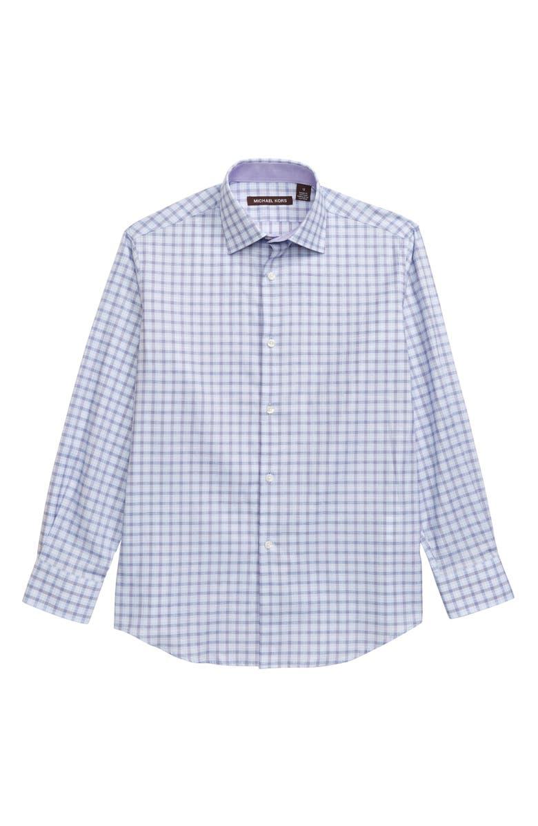 MICHAEL KORS Plaid Dress Shirt, Main, color, LAVENDER PLAID
