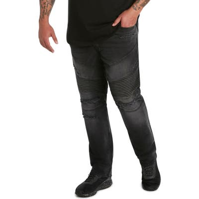Mvp Collections Straight Leg Distressed Biker Jeans
