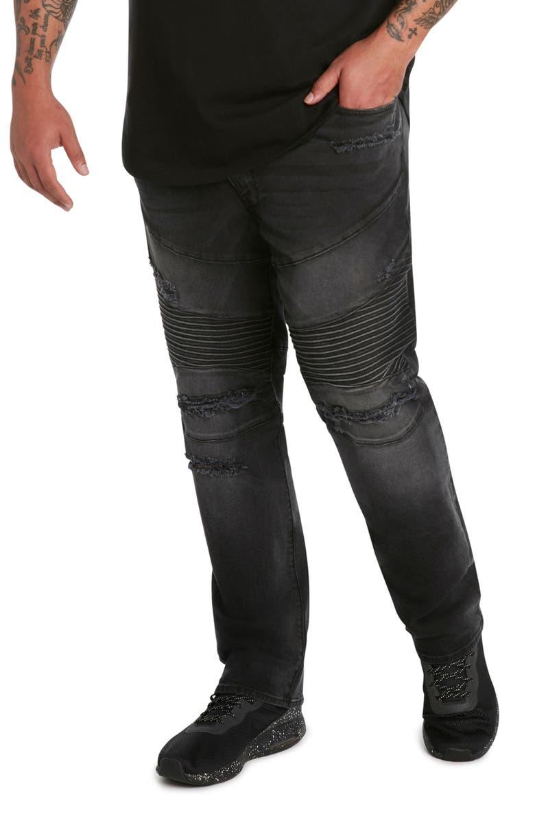 MVP COLLECTIONS Straight Leg Distressed Biker Jeans, Main, color, BLACK DESTRUCT WASH