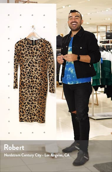 Long Sleeve Animal Jacquard Sweater Dress, sales video thumbnail