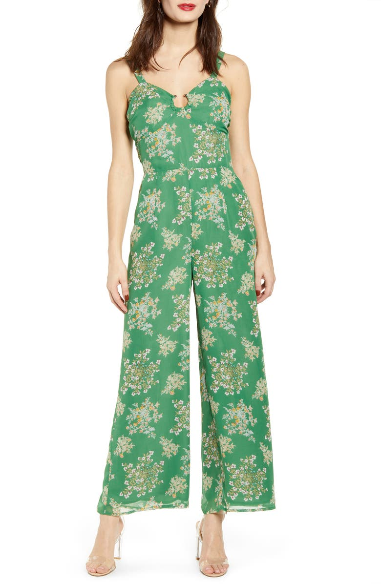 J.O.A. Floral Print Sleeveless Jumpsuit, Main, color, GREEN FLORAL