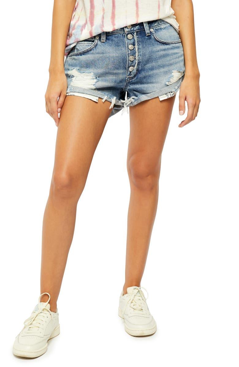FREE PEOPLE Romeo Rolled Cutoff Denim Shorts, Main, color, BEACH BREAK
