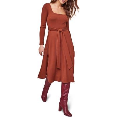 Astr The Label Sinclair Midi Dress, Brown