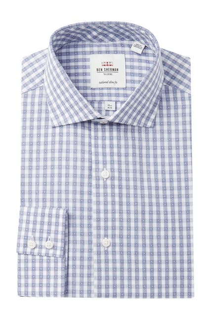 Image of Ben Sherman Jasper Check Stretch Slim Fit Dress Shirt
