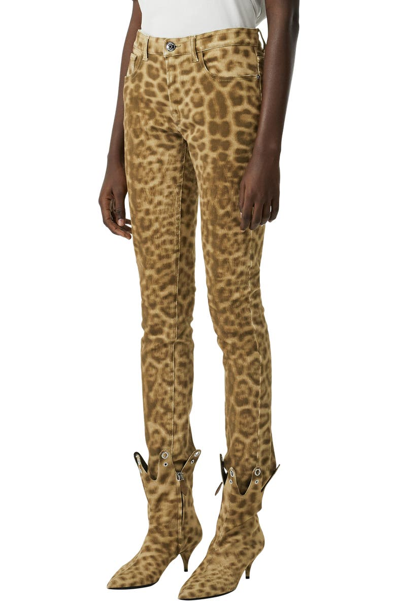 BURBERRY Leopard Print Skinny Jeans, Main, color, 250
