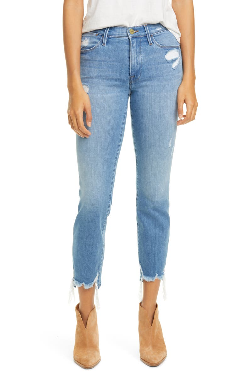 FRAME Le High Ripped Straight Leg Jeans, Main, color, LASKEY RIPS
