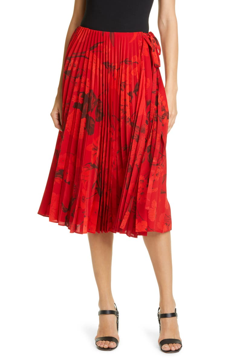 VALENTINO Pleated Floral Print Silk Crêpe de Chine Wrap Skirt, Main, color, RED FLORAL