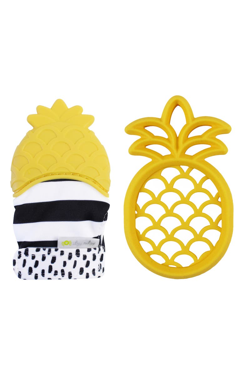 ITZY RITZY Teether & Teething Mitt Set, Main, color, PINEAPPLE