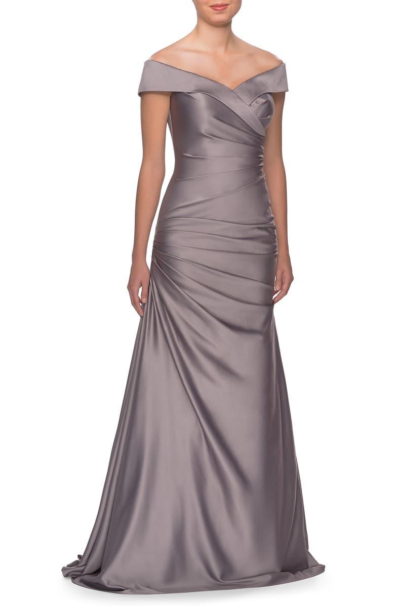 LA FEMME Off the Shoulder Ruched Satin Trumpet Gown, Main, color, PLATINUM