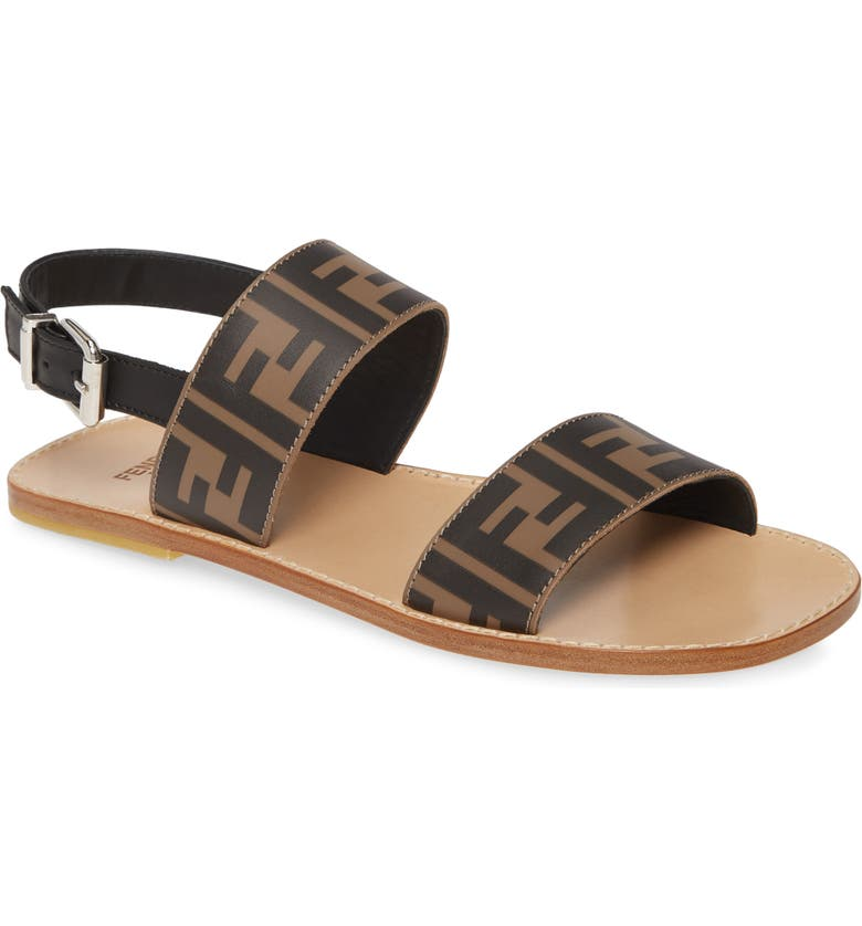FENDI Double F Logo Slingback Sandal, Main, color, BROWN