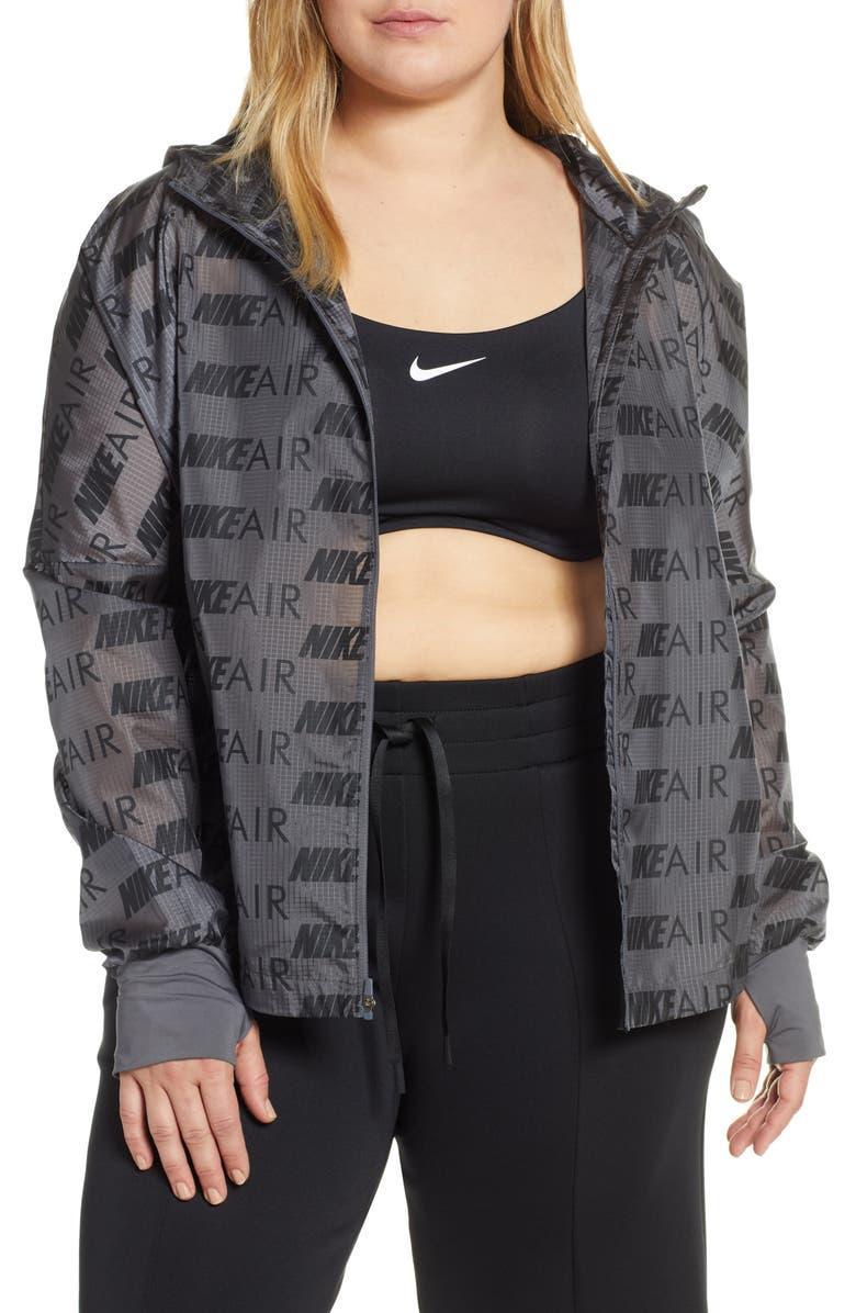 NIKE Air Hooded Running Jacket, Main, color, DARK GREY/ REFLECTIVE SILV