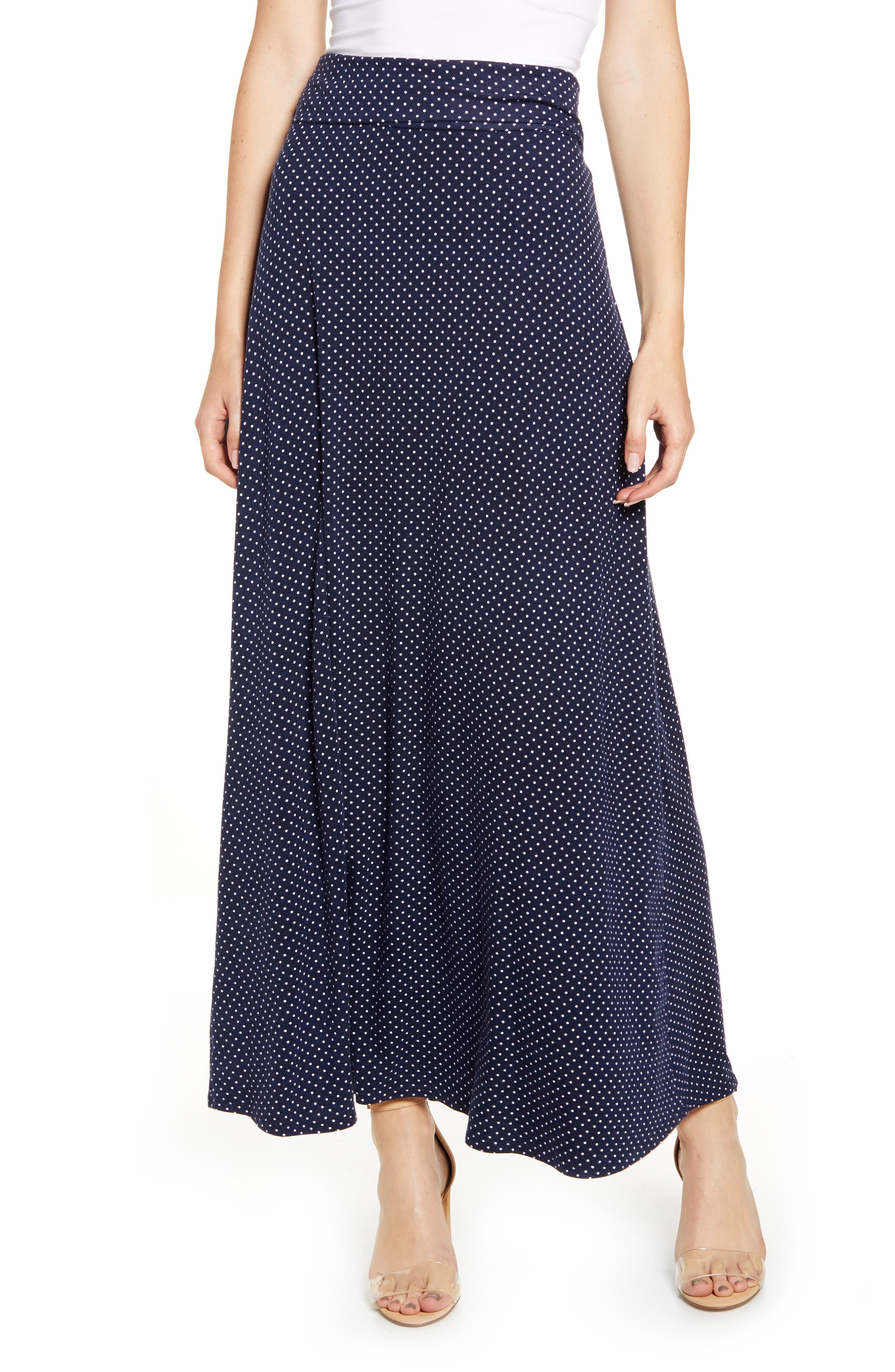 Blanketed in lively mini dots, this easy stretch-knit maxi is topped with a thick fold-over waistband and cut in a flowy silhouette Style Name: Loveappella Roll Top Maxi Skirt. Style Number: 5882497. Available in stores.