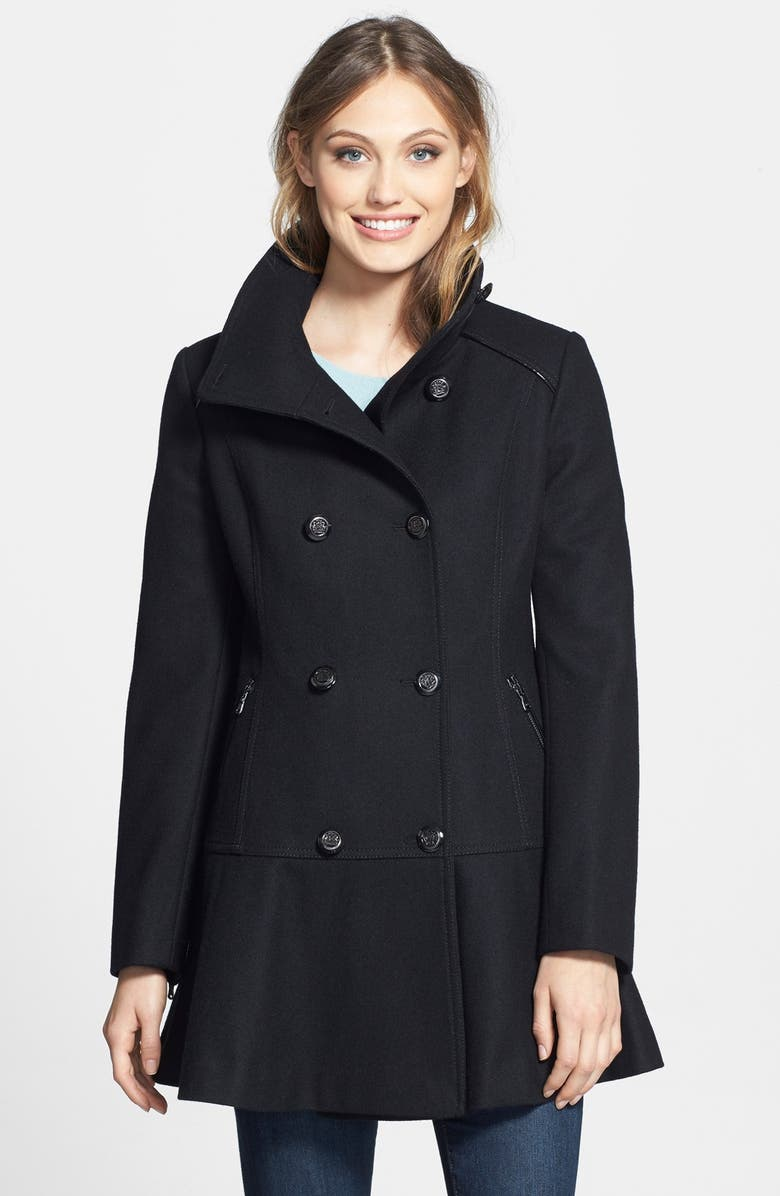 GUESS Skirted Wool Blend Coat, Main, color, 001