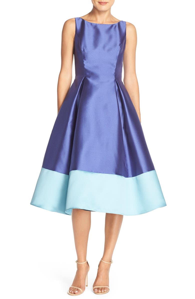 ADRIANNA PAPELL Colorblock Mikado Fit & Flare Dress, Main, color, 590