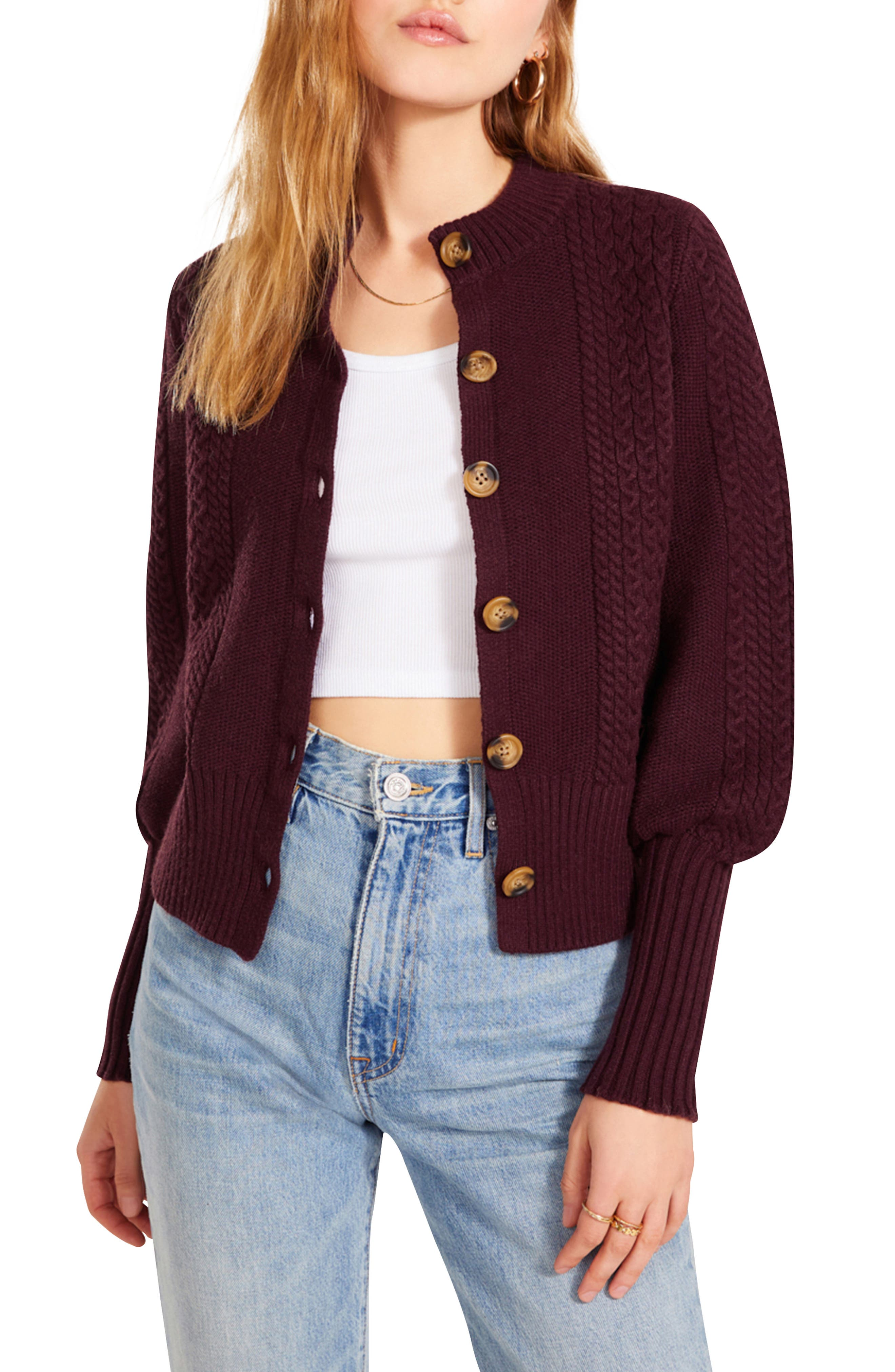 Story Time Puff Sleeve Cable Knit Cardigan