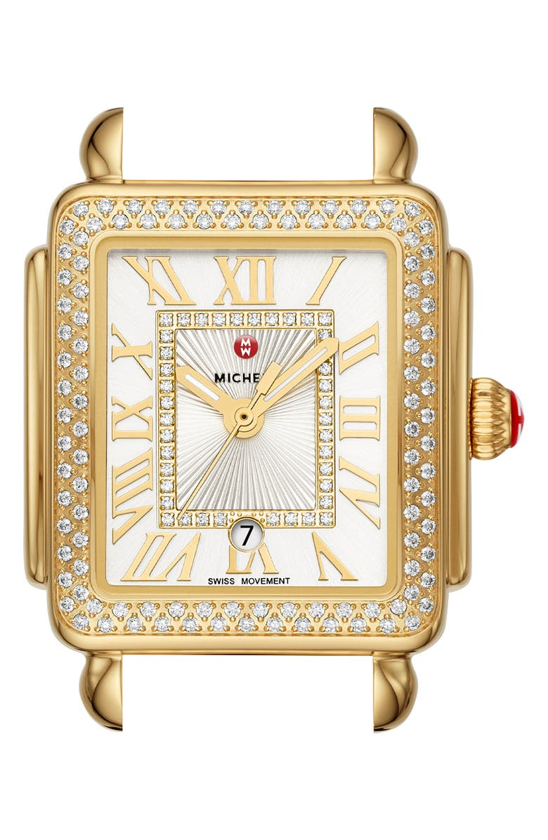 MICHELE Deco Madison Mid Diamond Dial Watch Head, 29mm x 31mm, Main, color, GOLD/ WHITE