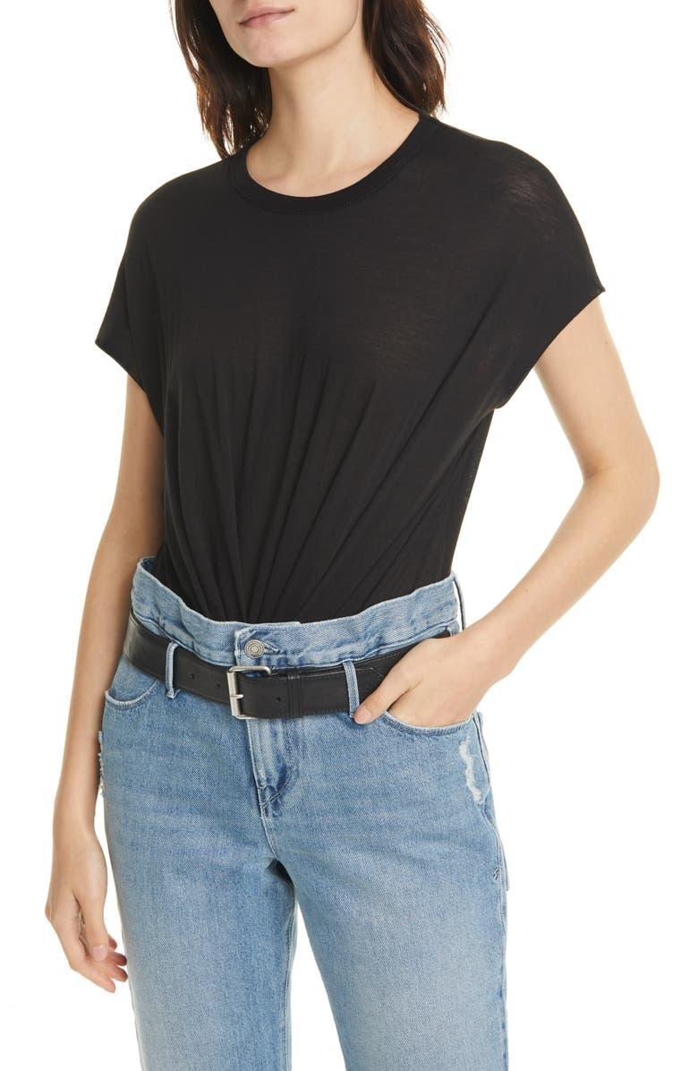 RTA Denim Halle Cotton & Cashmere Bodysuit, Main, color, BLACK