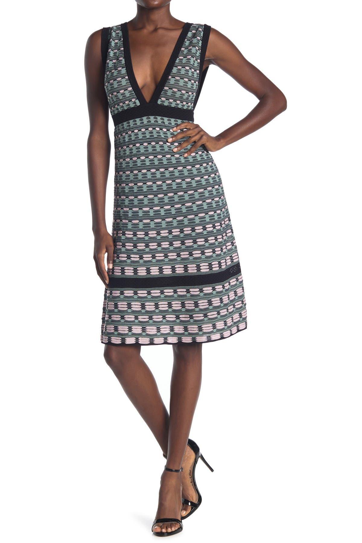 Image of M Missoni Plunge Neck Patterned Dress