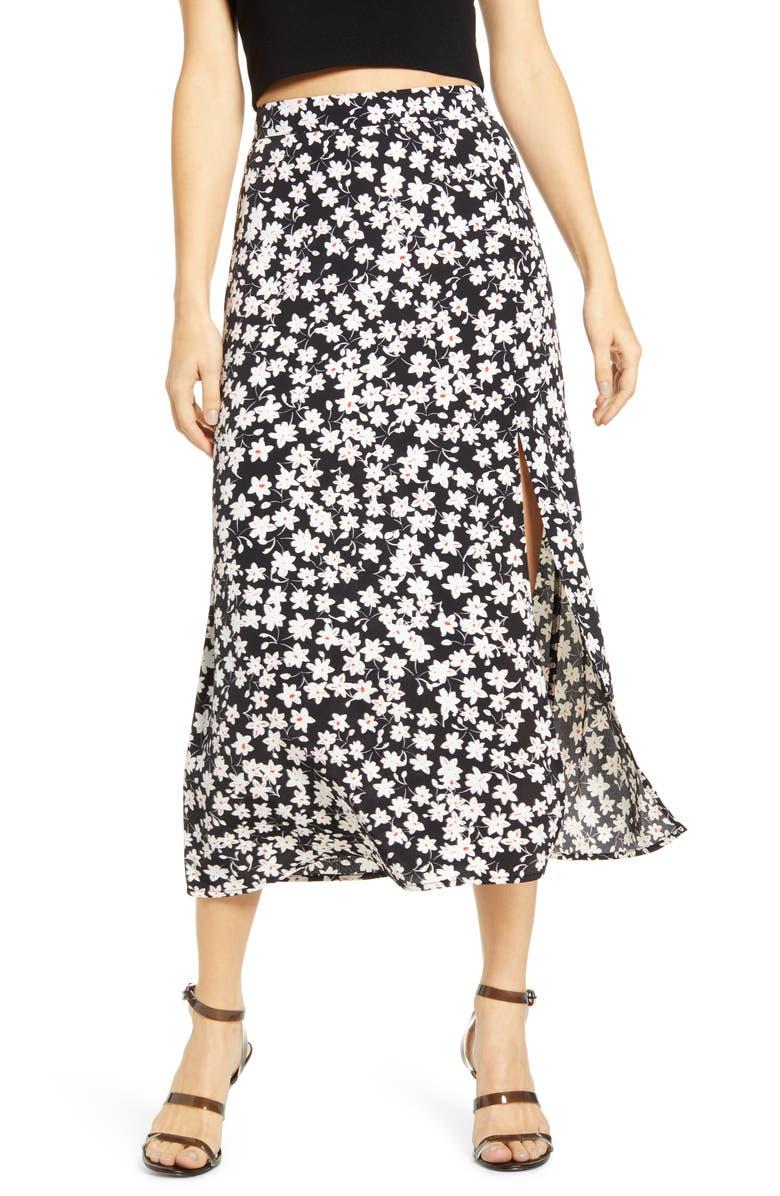 LEITH Ditsy Floral Midi Skirt, Main, color, 001